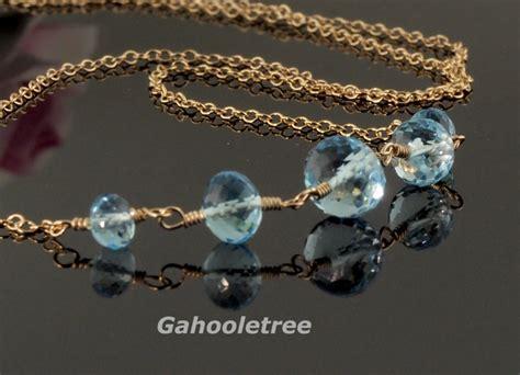 Gemstone Lariats From Sweet Sky Jewelry by Blue Topaz Necklace Sky Blue Topaz Choker 14k Gold Filled