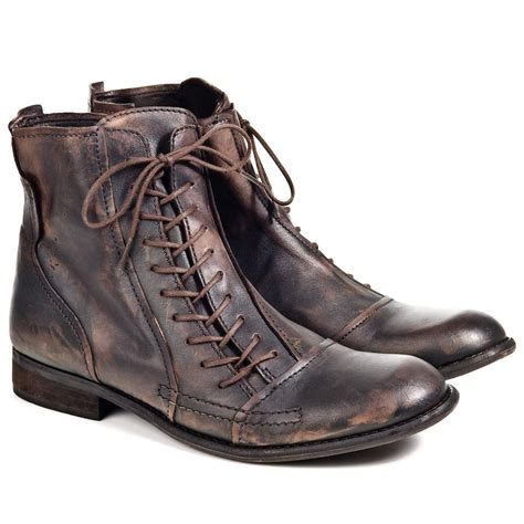 mens lace up boot fly wall brown leather mens lace up boot fly