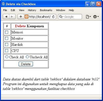 membuat checkbox html membuat program input dan delete data menggunakan checkbox
