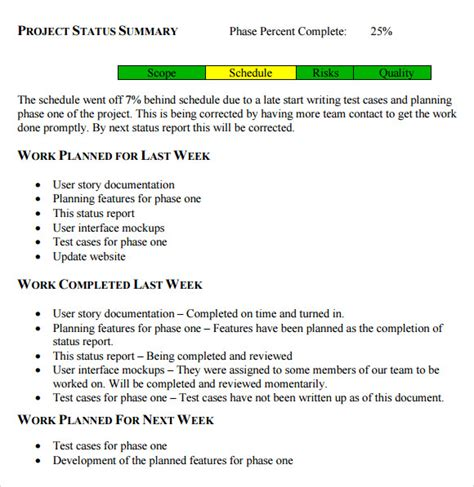 8 Status Report Sles Sle Templates Update Letter Template