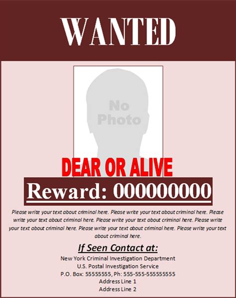 doc 450588 reward poster template 29 free wanted