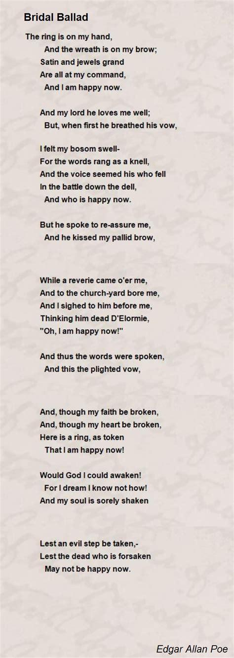bridal ballad poem by edgar allan poe poem hunter