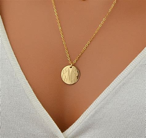 large for jewelry large disc necklace monogram necklace gold necklace by
