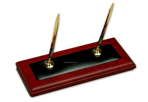 desk pen stand rosewood wood leather double pen stand china wholesale