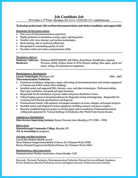 cable technician resume cover letter