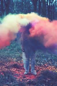 color smoke bomb throwing coloured powder in the forest 171 plenty of colour