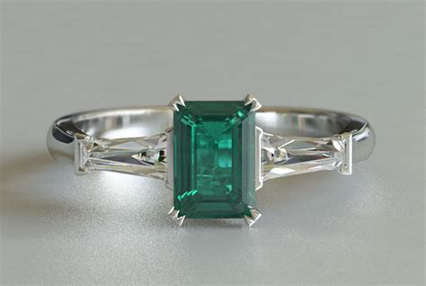 white gold or platinum emerald 3 engagement
