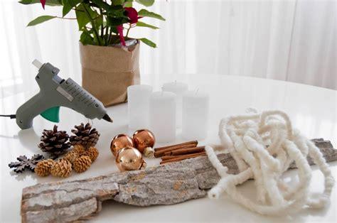 centro tavola moderno fai da te natale candele e corteccia per un centrotavola
