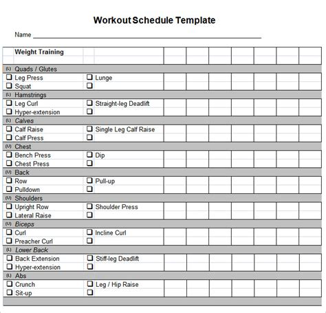 workout chart template workout schedule template 10 free word excel pdf