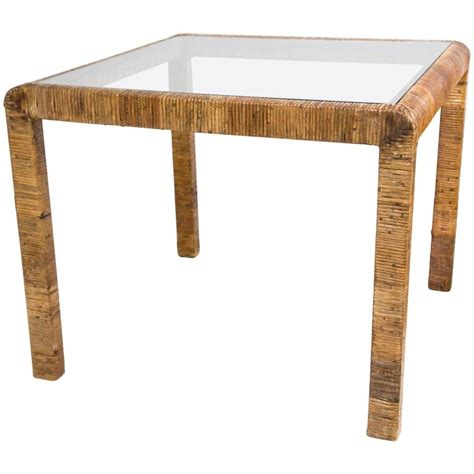 Rattan Table L Rattan And Glass Card Table For Sale At 1stdibs