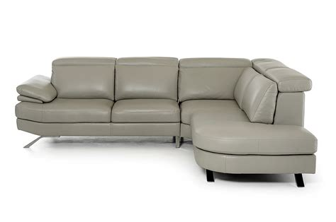 Shop Sectional Sofas Estro Salotti Glenda Italian Grey Leather Sectional Made In Italy