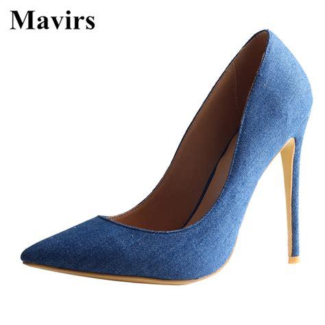 mavirs denim high heels pumps 2018 summer brand new