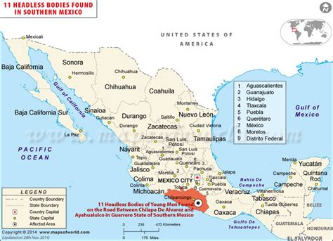 map of southern us and mexico 11 headless bodies found in southern mexico protest