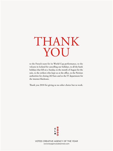 thank you letter to restaurant customers print ad clm bbdo thank you