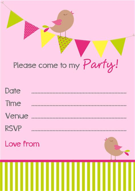free party invitation templates birdies bunting