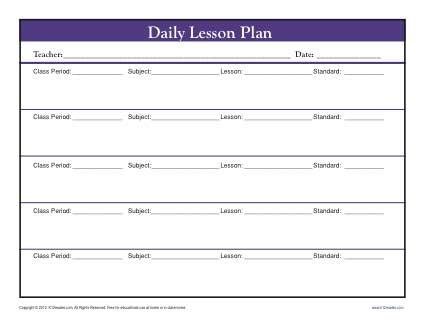 daily muti class lesson plan template with period secondary