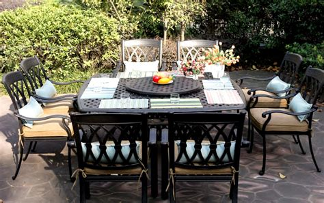 patio furniture dining set cast aluminum 64 quot square table