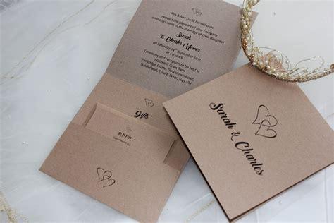 Wedding Invitation Uk by Rustic Kraft Pocketfold Wedding Invitations
