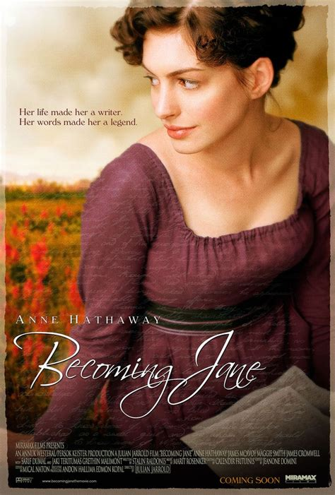 jane austen biography movie movie poster her life made her a writer her words made