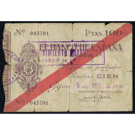comprar lingotes de oro banco de espa a 1936 11 05 banco de espa 241 a gijon 100 pesetas mbc