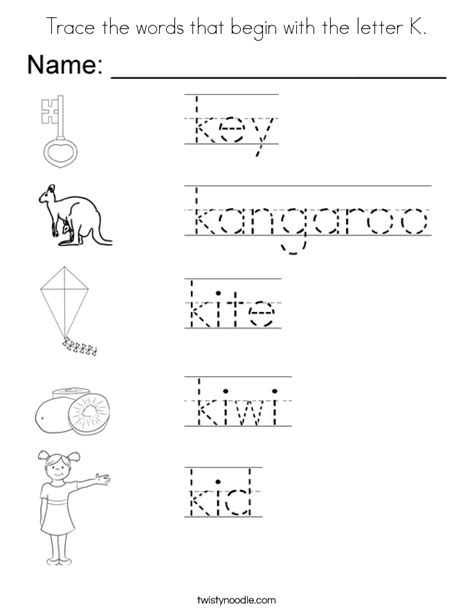 what color starts with k trace the words that begin with the letter k coloring page