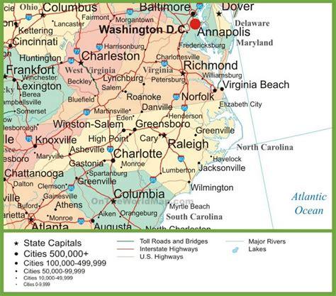 carolina on usa map map of virginia and carolina