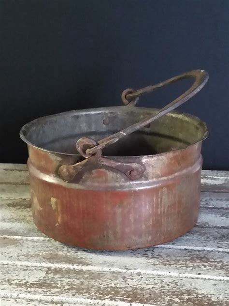 copper cauldron pit antique primitive copper cauldron pot iron forged handle