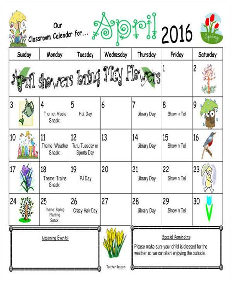 8 classroom calendar template exles in word pdf