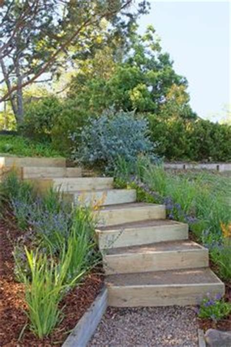 the 2 minute gardener garden elements landscape timber hillside steps on pinterest