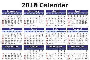 2018 calendar in illustrations creative market