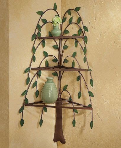 how to decorate a corner wall metal willow tree corner shelf wall decor country