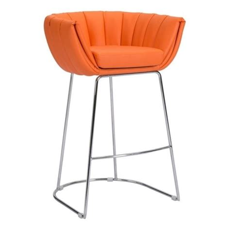 Orange Faux Leather Bar Stools by Zuo Latte 36 Quot Faux Leather Bar Stool In Orange Set Of 2