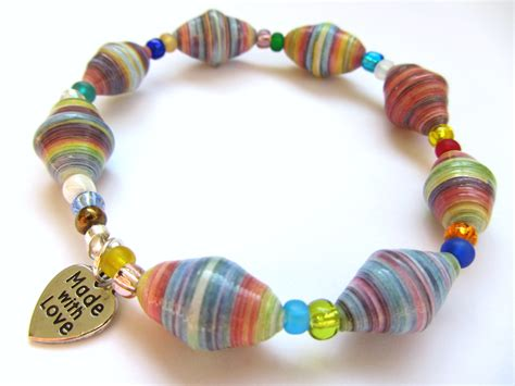 How To Make A Paper Bead Bracelet - paper bead jewelry diana designs
