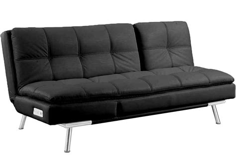 black leather futon sleeper palermo serta modern lounger