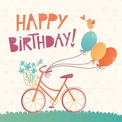 imagenes de happy birthday vector happy birthday vector card with a bicycle stock vector art