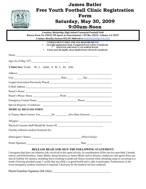 youth registration form template best photos of sports sign up form basketball sign up