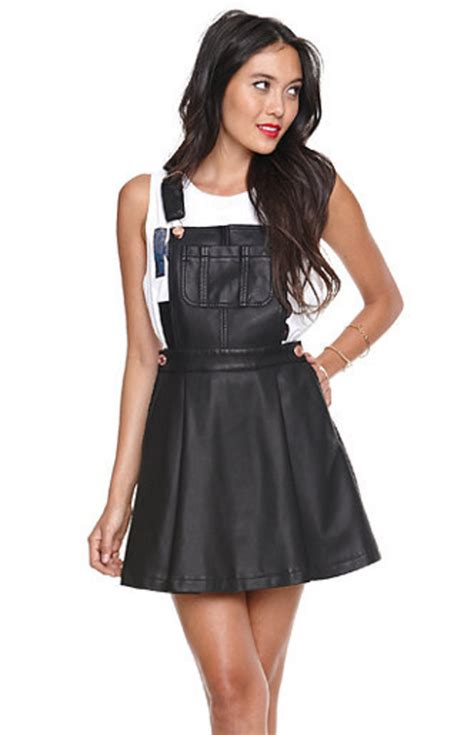 Overall Skirt By Jlty Fashion black leather skirt overalls
