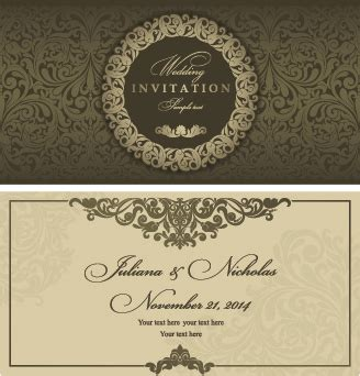 wedding invitation card design vector free download retro floral wedding invitation cards vector free vector