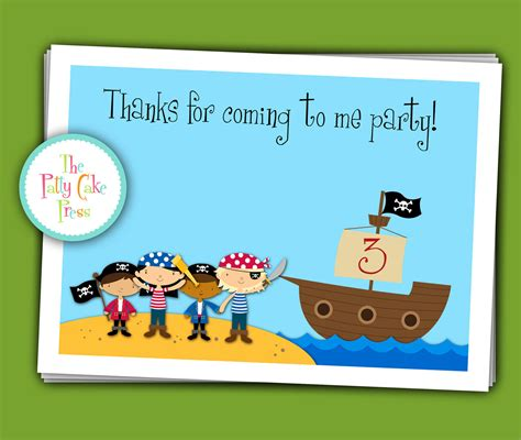 printable birthday card pirate pirate thank you cards custom printable by thepattycakepress