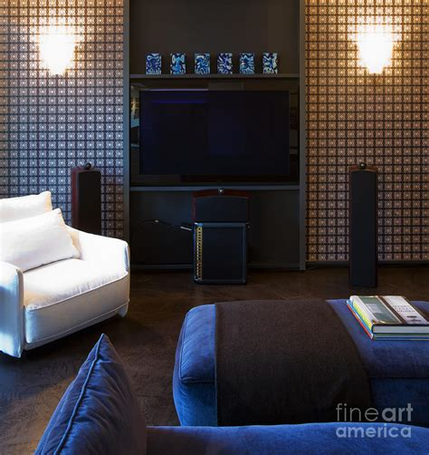 Living Room With Flat Screen Tv by Flat Screen Tv On Living Room Wall Photograph By Andersen Ross