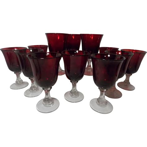 antique vintage art glass crystal glasses stemware beautiful vintage ruby red crystal glass stemware set of