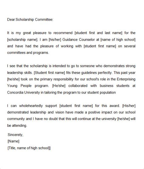 Scholarship Recommendation Letter Guidelines Sle Letter Of Recommendation For Scholarship 29 Exles In Word Pdf