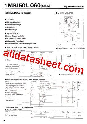 Igbt 2mbi 50l 120 Fuji Electric 1mbi50l 060 datasheet pdf fuji electric