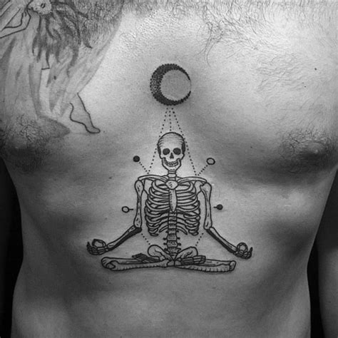 under the breast tattoos meditating skeleton chest skeletons and moon