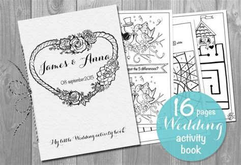 kids wedding activity book printable personalized