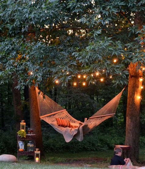 cozy backyard ideas cozy backyard lights with hanging chair