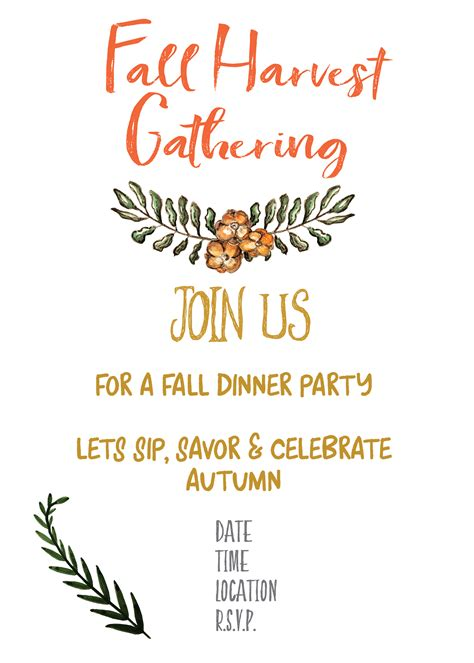 Fall Harvest Party Invitation Printable Gather For Bread Gathering Invitation Template
