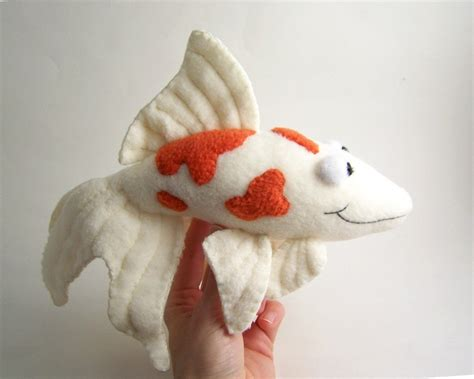Handmade Animals - handmade orange and white koi fish stuffed animal