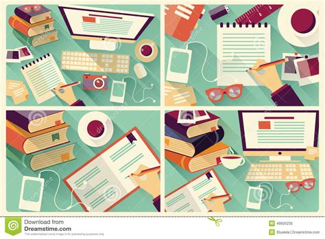 design is work collection of four flat design work desks stationery