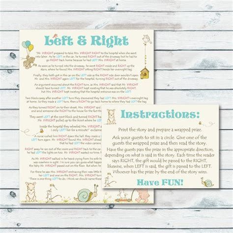Baby Shower Left Right by Left Right Baby Shower Printable Left Or Right Storybook